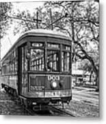 St. Charles Streetcar 2 Bw Metal Print