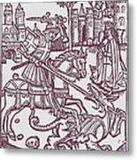 St. George - Woodcut Metal Print