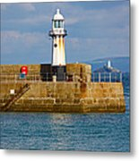 St Ives And Godrevy Lighthouses Cornwall Metal Print