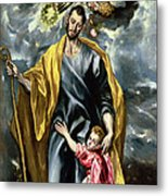 Saint Joseph And The Christ Child Metal Print