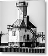 St. Joseph Lighthouse Black And White Picture  Metal Print