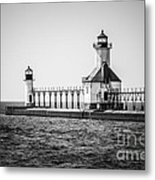 St. Joseph Lighthouses Black And White Picture  Metal Print