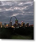 St. Louis Arch At Dusk From The Train Metal Print