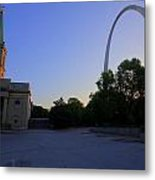 St Louis Basilica And Arch Metal Print