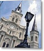 St Louis Cathederal And Lamp Metal Print