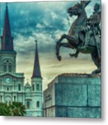 St. Louis Cathedral And Andrew Jackson- Artistic Metal Print