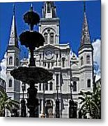 St Louis Cathedral Fountain Metal Print