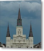 St Louis Cathedral Under Storm Clouds Metal Print
