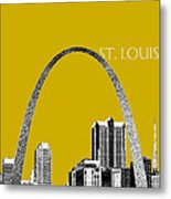 St Louis Skyline Gateway Arch - Gold Metal Print