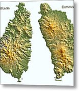 St Lucia And Dominica Map Metal Print