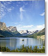 St. Mary Lake And Wild Goose Island Metal Print