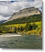 St. Mary River And East Flattop Mountain Metal Print