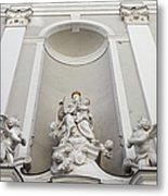 St Michael Church Sculptures In Budapest Metal Print by Artur Bogacki