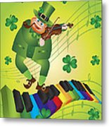 St Patricks Day Leprechaun Dancing On Piano Keyboard Metal Print