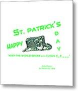St. Patrick's Day Memphis 3d Metal Print