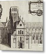 St Paul's Cathedral, 17th Century Artwork Metal Print