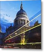 St. Pauls Cathedral And Light Trails Metal Print by Mark Thomas