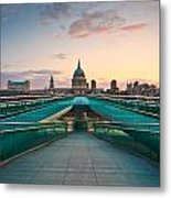 St. Paul's Cathedral And Millennium Bridge In London Metal Print