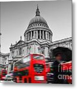 St Pauls Cathedral In London Uk Red Buses In Motion Metal Print