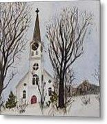 St. Pauls Church In Barton Vt In Winter Metal Print