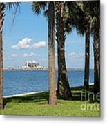 St Pete Pier Through Palm Trees Metal Print