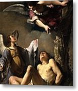 St. Sebastian Succoured By Two Angels Metal Print