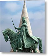St Stephen's Statue In Budapest Metal Print