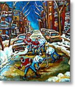 St Urbain Street Boys Playing Hockey Metal Print