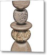 Stack Of Balanced Rocks With Heart Metal Print
