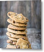 Stack Of Chocolate Chip Cookies With One Leaning Kitchen Art Metal Print