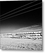 stack of frozen snow covered hay bales in a field Forget Saskatchewan Canada Metal Print