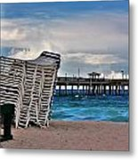 Stacked Beach Chairs Metal Print