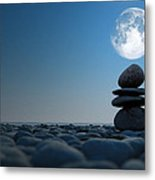 Stacked Stones In Moonlight Metal Print by Aleksey Tugolukov