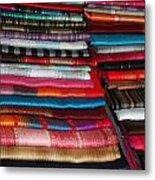 Stacks Of Colorful Shawls Metal Print