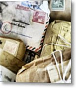 Stacks Of Old Mail Tied Together Metal Print