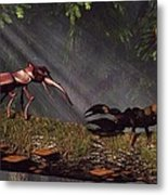 Stag Beetle Versus Scorpion Metal Print