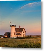 Stage Harbor Lighthouse Square Metal Print by Bill Wakeley