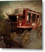 Stagecoach West Sepia Textured Metal Print