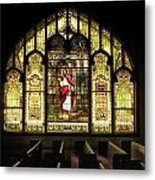 Stain Glass Behold I Stand At The Door And Knock Metal Print