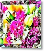 Stain Glass Framed Florals Metal Print