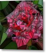 Stain Glass Rose Metal Print