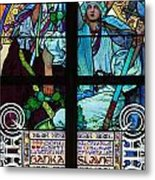 Stained Galss Window In St Vitus Metal Print