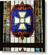 Stained Glass 3 Panel Vertical Composite 01 Metal Print by Thomas Woolworth