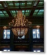 Stained Glass And Chandelier  Metal Print