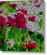 Stained Glass Chrysanthemum Flowers Metal Print