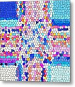 Stained Glass Colorful Cross Metal Print