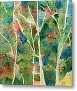 Stained Glass Forest In Spring Metal Print
