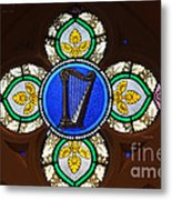 Stained Glass Harp Metal Print