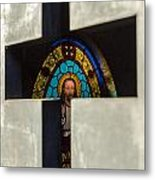 Stained Glass In A Tomb Metal Print