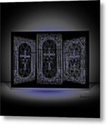 Stained Glass In Blue Metal Print